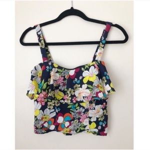 Flower Printed Tank Top With Vintage Dior Zipper M
